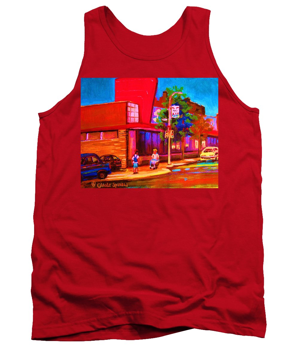 Steinbergs Tank Top featuring the painting Steinbergs Supermarket by Carole Spandau