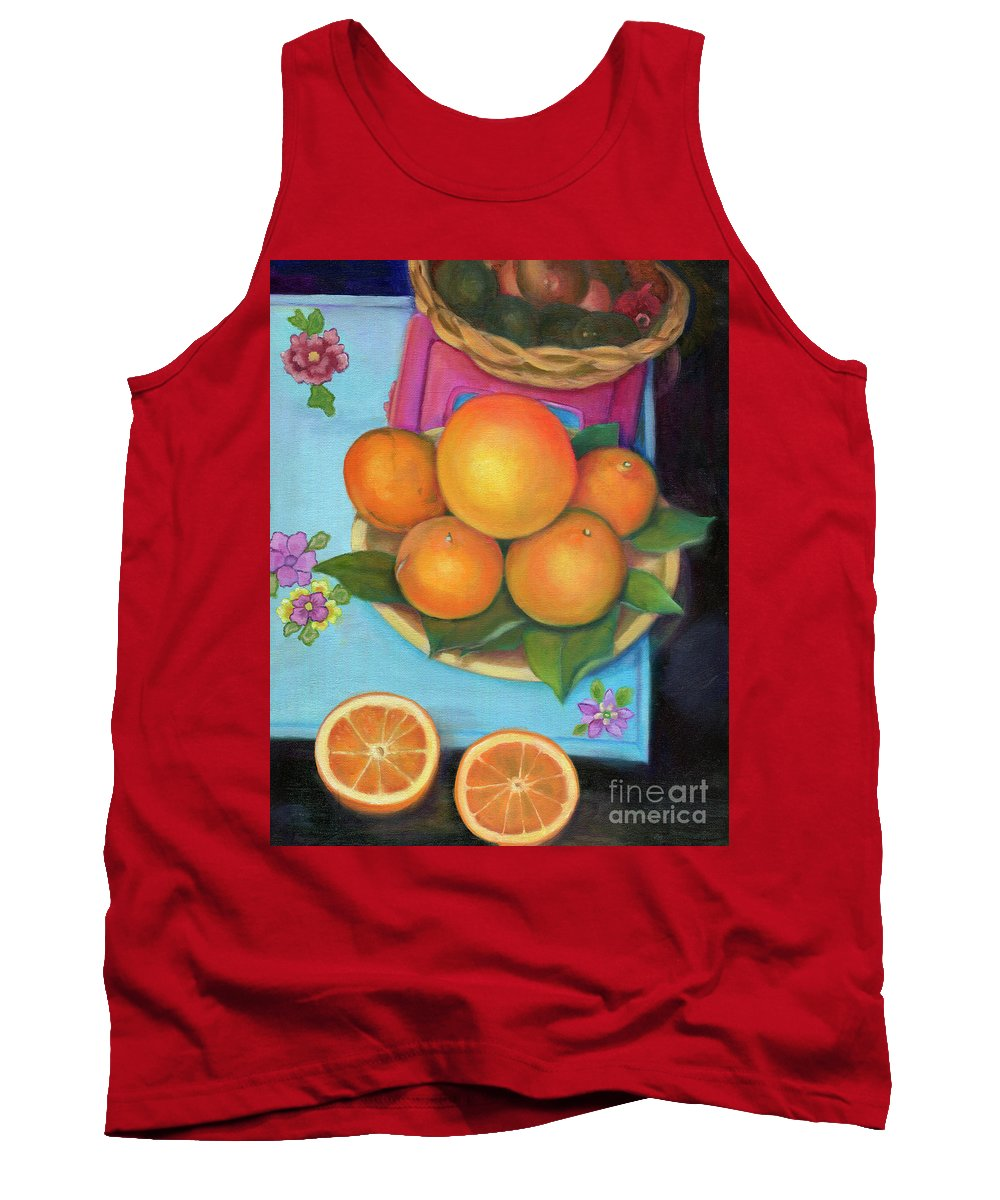 Still Life Tank Top featuring the painting Still Life Oranges And Grapefruit by Marlene Book