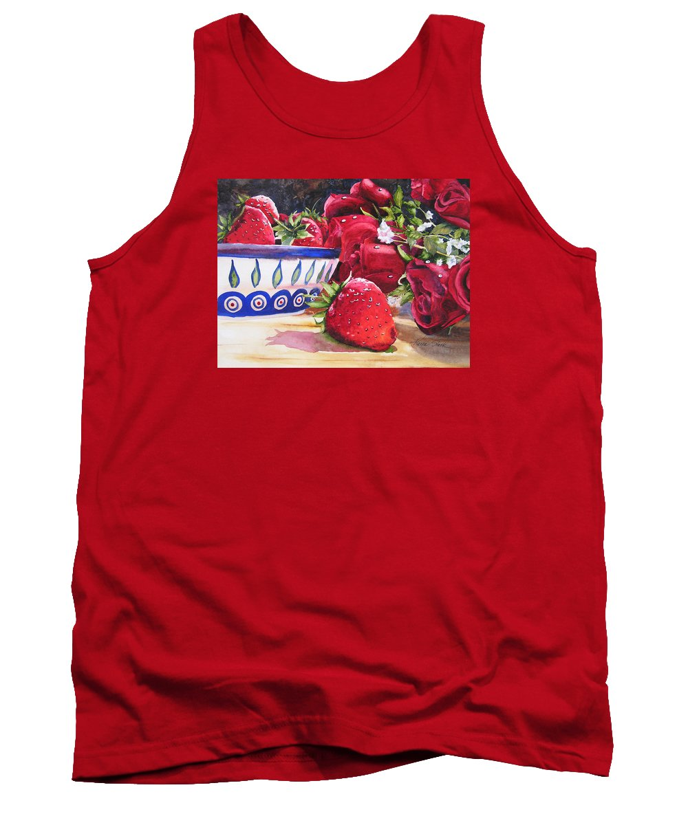 Strawberries Tank Top featuring the painting Strawberries and Roses by Karen Stark