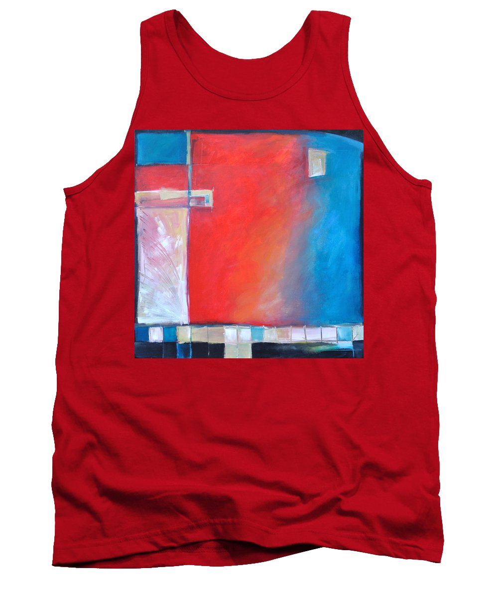 Abstract Tank Top featuring the painting Structures And Solitude Revisited by Tim Nyberg