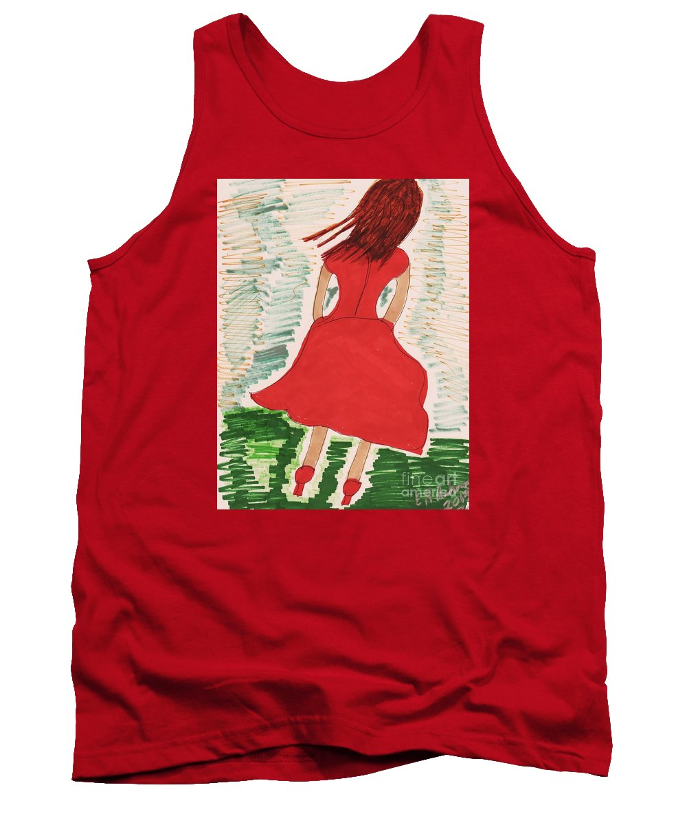 Back Of Girl Red Dress Medium Length Tank Top featuring the mixed media Style Two 2014 by Elinor Helen Rakowski