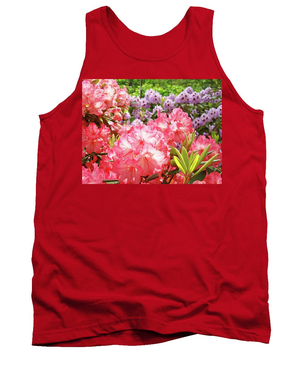 Beautiful Tank Top featuring the photograph Summer Garden Pink Purple Rhododendrons Baslee by Baslee Troutman
