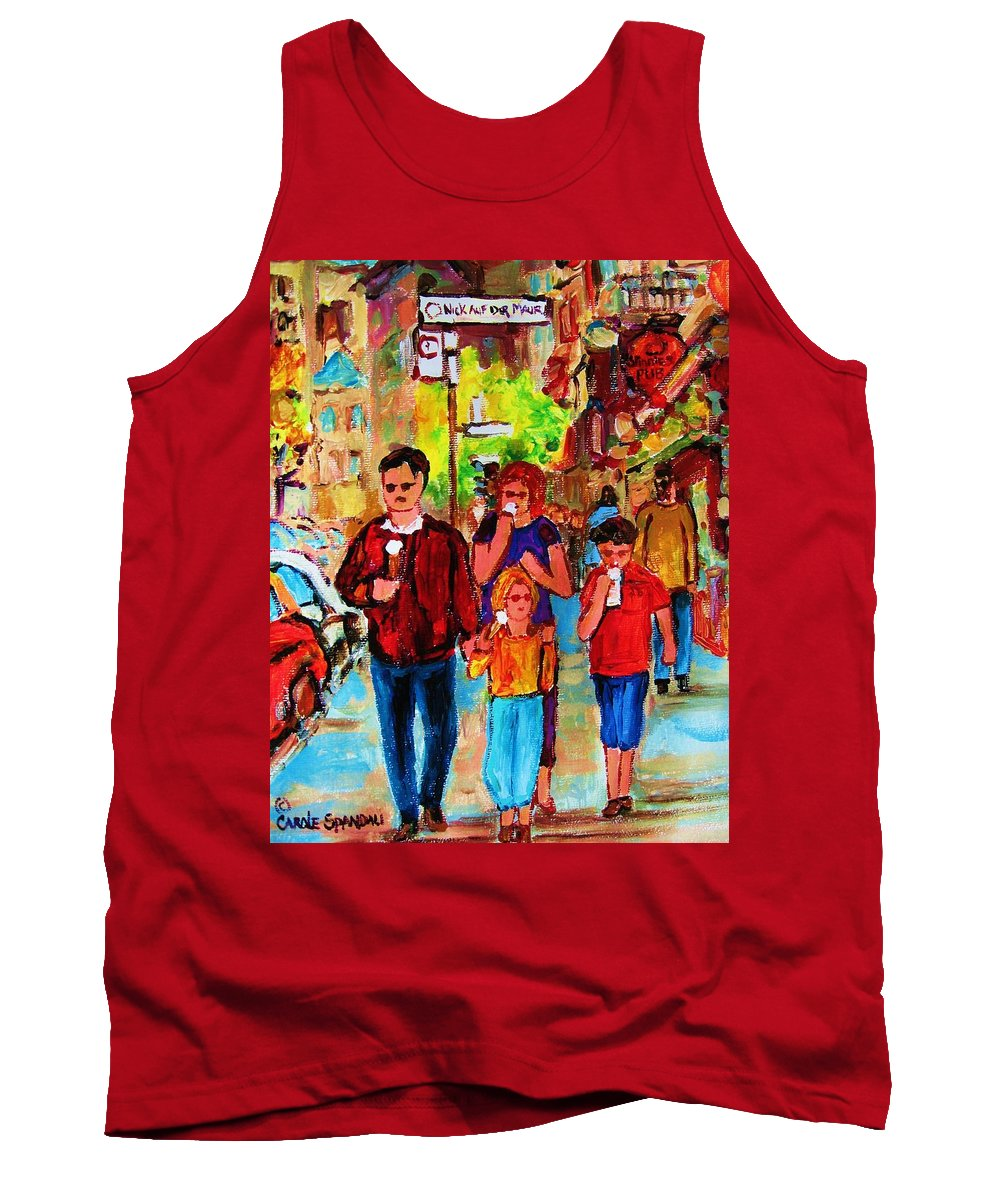 Montreal Streetscenes Tank Top featuring the painting Summer In The City by Carole Spandau