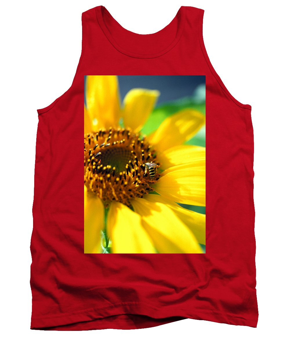 Bright Tank Top featuring the photograph Sunflower And Bee by Thomas Firak