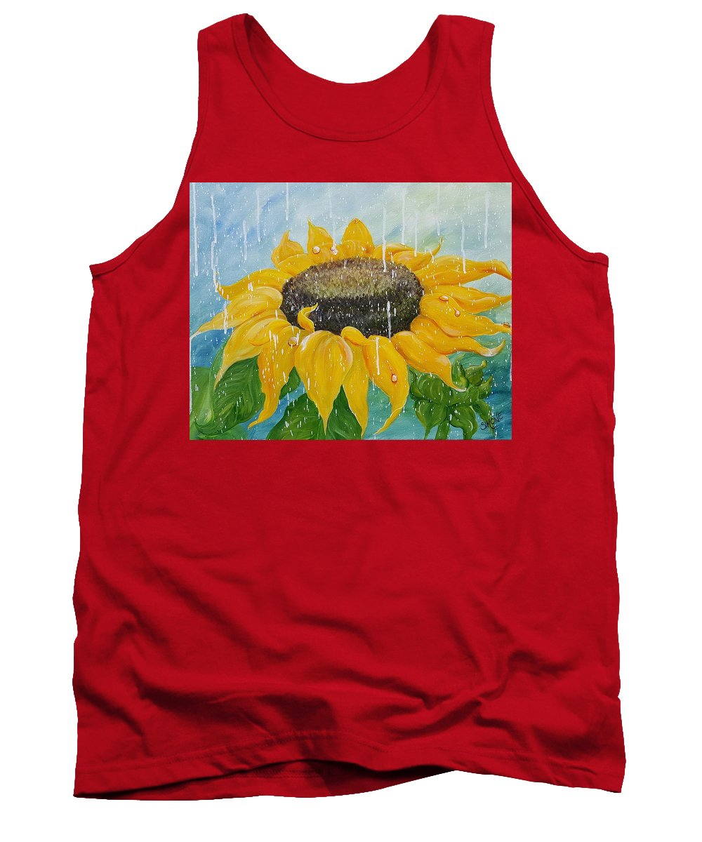 Sunflower Tank Top featuring the painting Sunflower Rain by Simone Germain