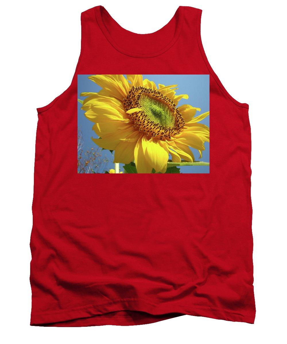 Sunflower Tank Top featuring the photograph Sunflower Sunlit Sun Flowers 6 Blue Sky Giclee Art Prints Baslee Troutman by Baslee Troutman