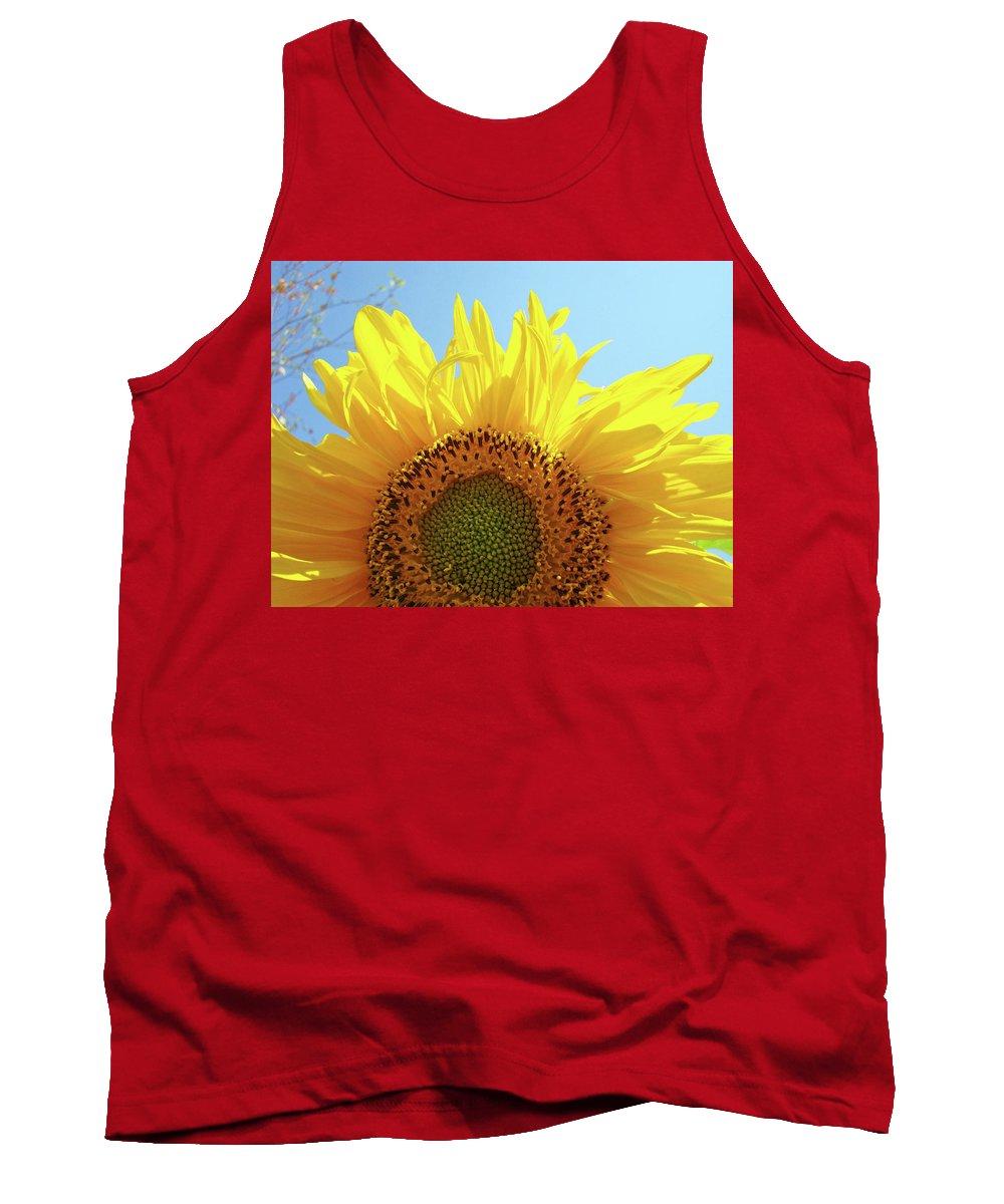 Sunflower Tank Top featuring the photograph Sunflower Sunlit Sun Flowers Giclee Art Prints Baslee Troutman by Baslee Troutman