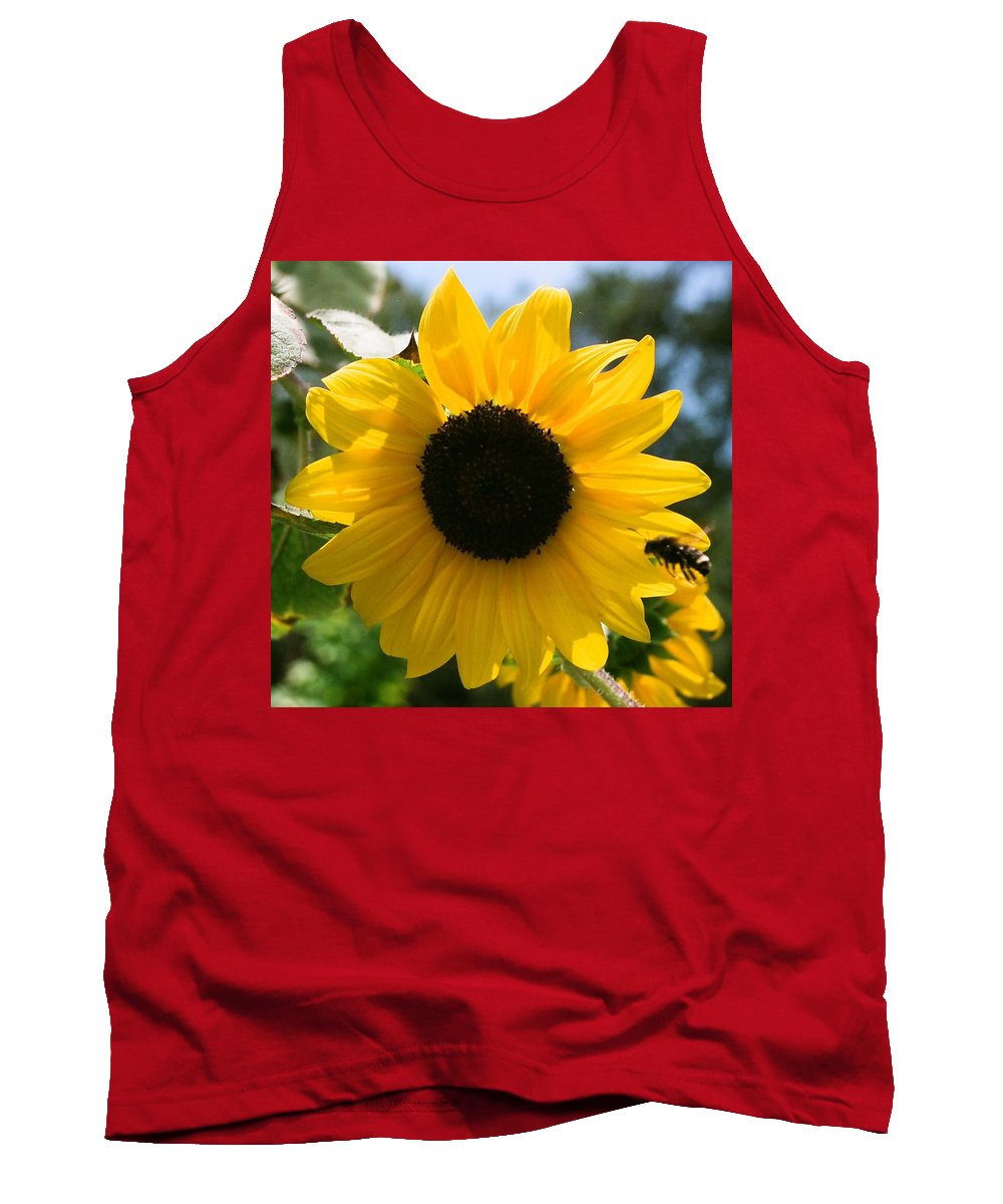 Flower Tank Top featuring the photograph Sunflower with Bee by Dean Triolo