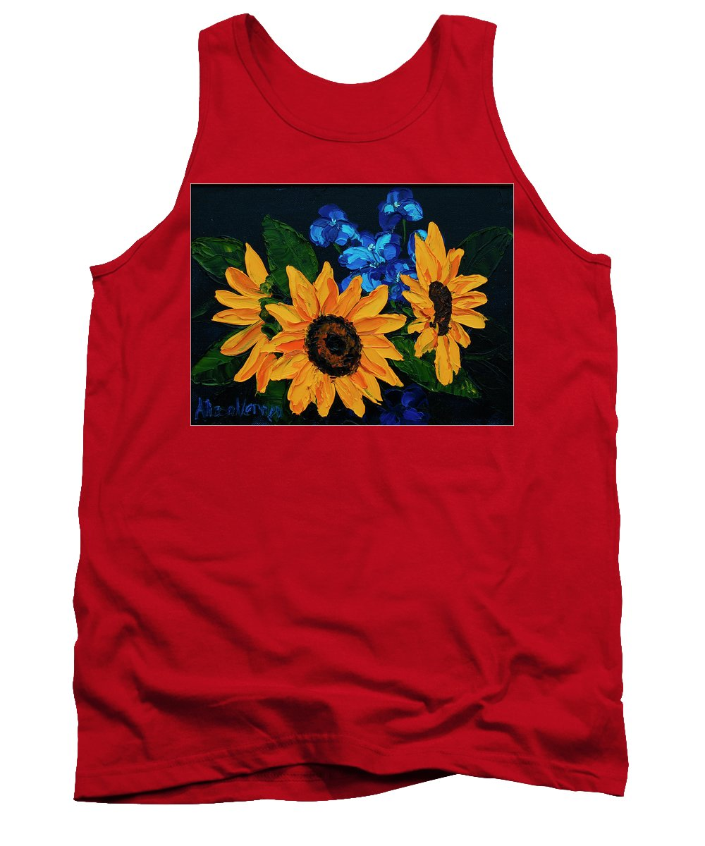 Sunflowers Tank Top featuring the painting Sunflowers And Delphinium by Alison Vernon