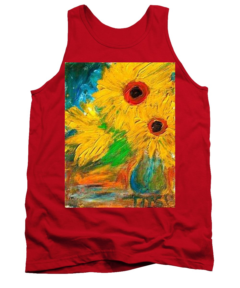 Sunflowers By The Lake Tank Top featuring the painting Sunflowers By The Lake by Marilyn Ingrid St-Pierre