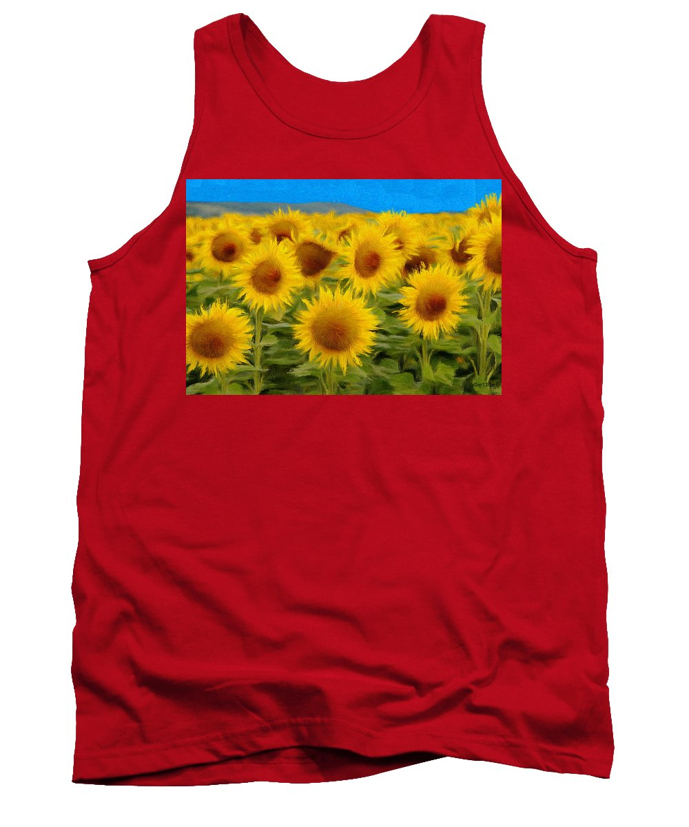 Sunflower Tank Top featuring the painting Sunflowers In The Field by Jeffrey Kolker