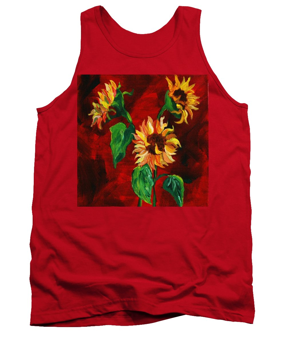 Flowers Tank Top featuring the painting Sunflowers On Rojo by Melinda Etzold