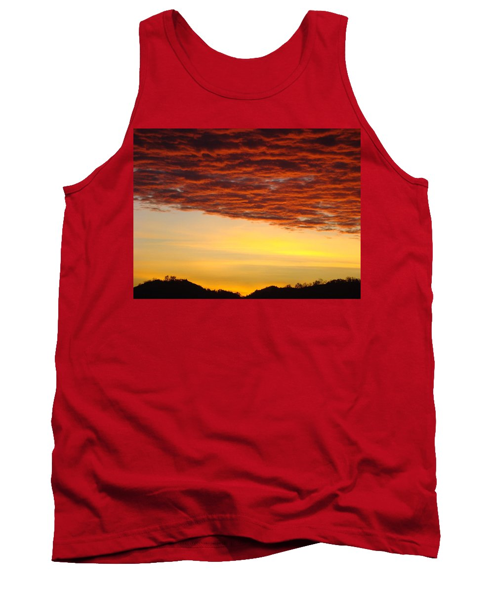 Sunset Tank Top featuring the photograph Sunset Art Prints Canvas Orange Clouds Twilight Sky Baslee Troutman by Baslee Troutman