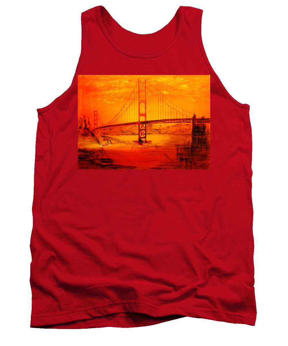 Sunset At Golden Gate Tank Top featuring the painting Sunset At Golden Gate by Helmut Rottler