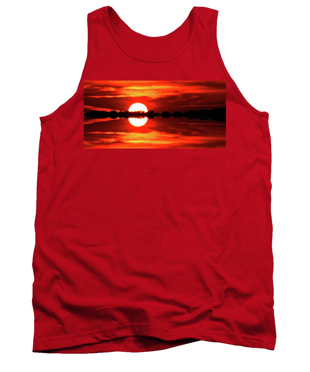 Abstract Tank Top featuring the digital art Sunset Behind The Trees At Kempenfelt Bay Two by Lyle Crump