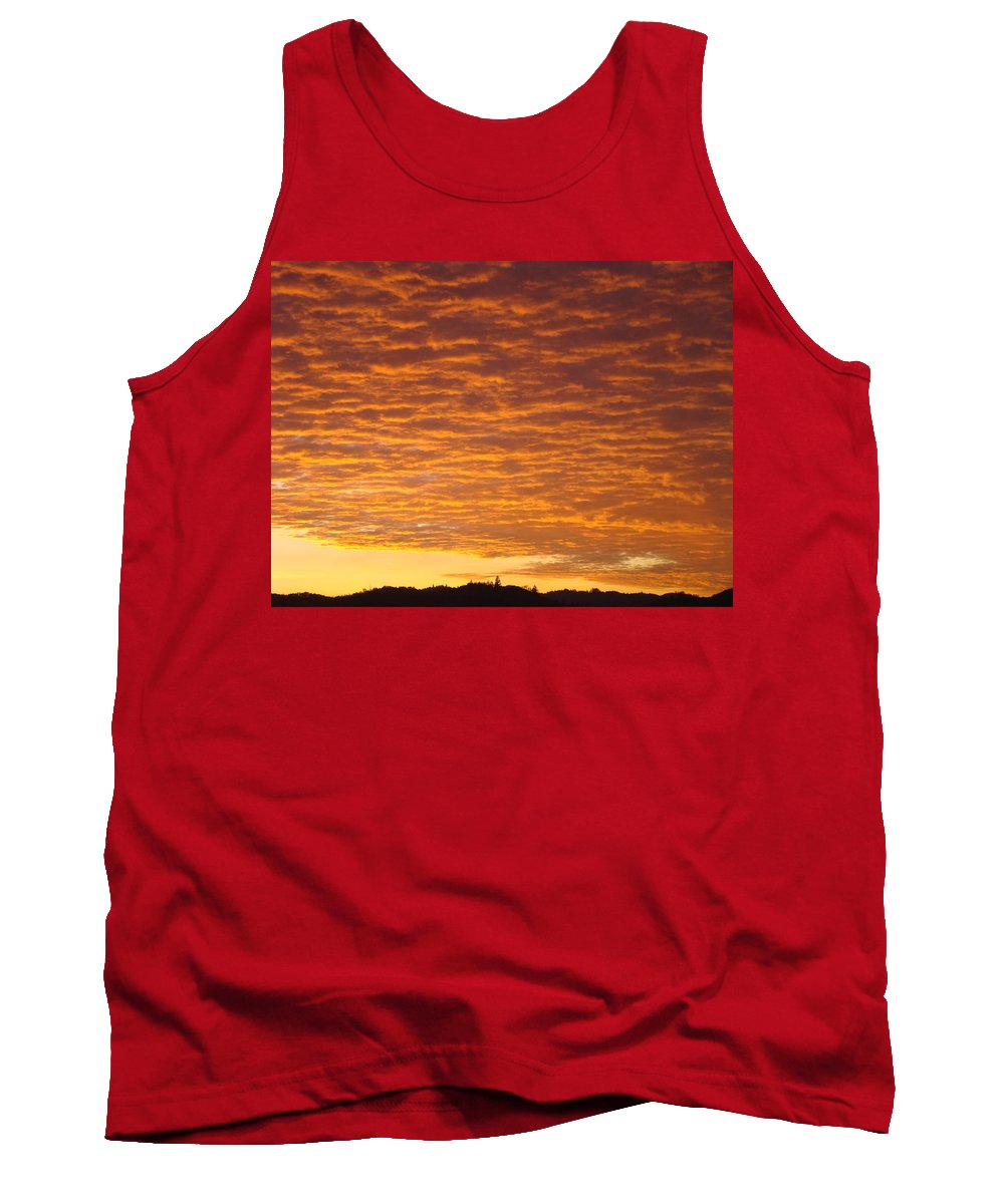 Sunset Tank Top featuring the photograph Sunset Fiery Orange Sunset Art Prints Sky Clouds Giclee Baslee Troutman by Baslee Troutman
