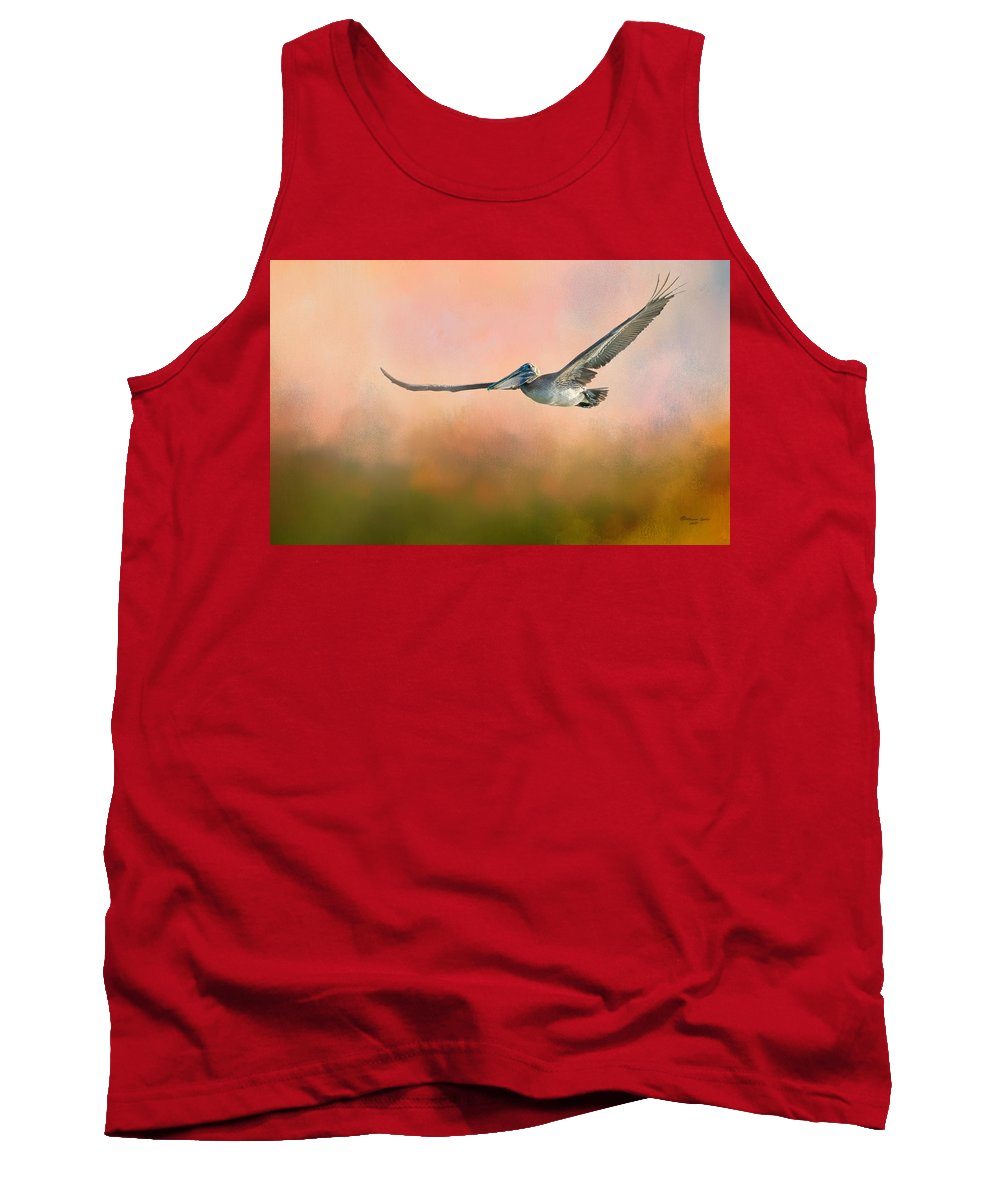 Pelican Tank Top featuring the photograph Sunset Flight by Marvin Spates