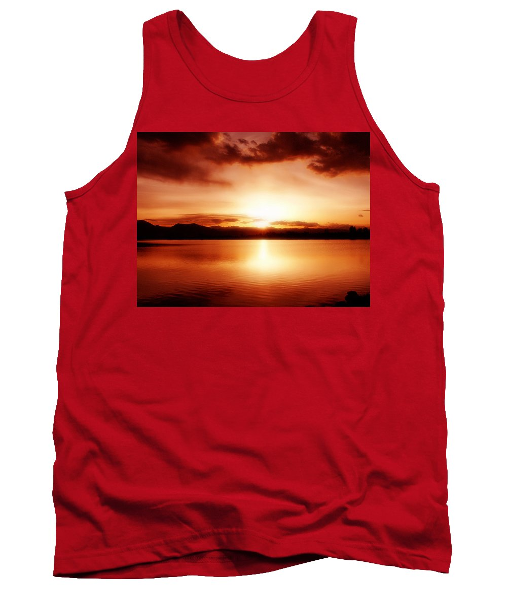 Lake Tank Top featuring the photograph Sunset by Marilyn Hunt