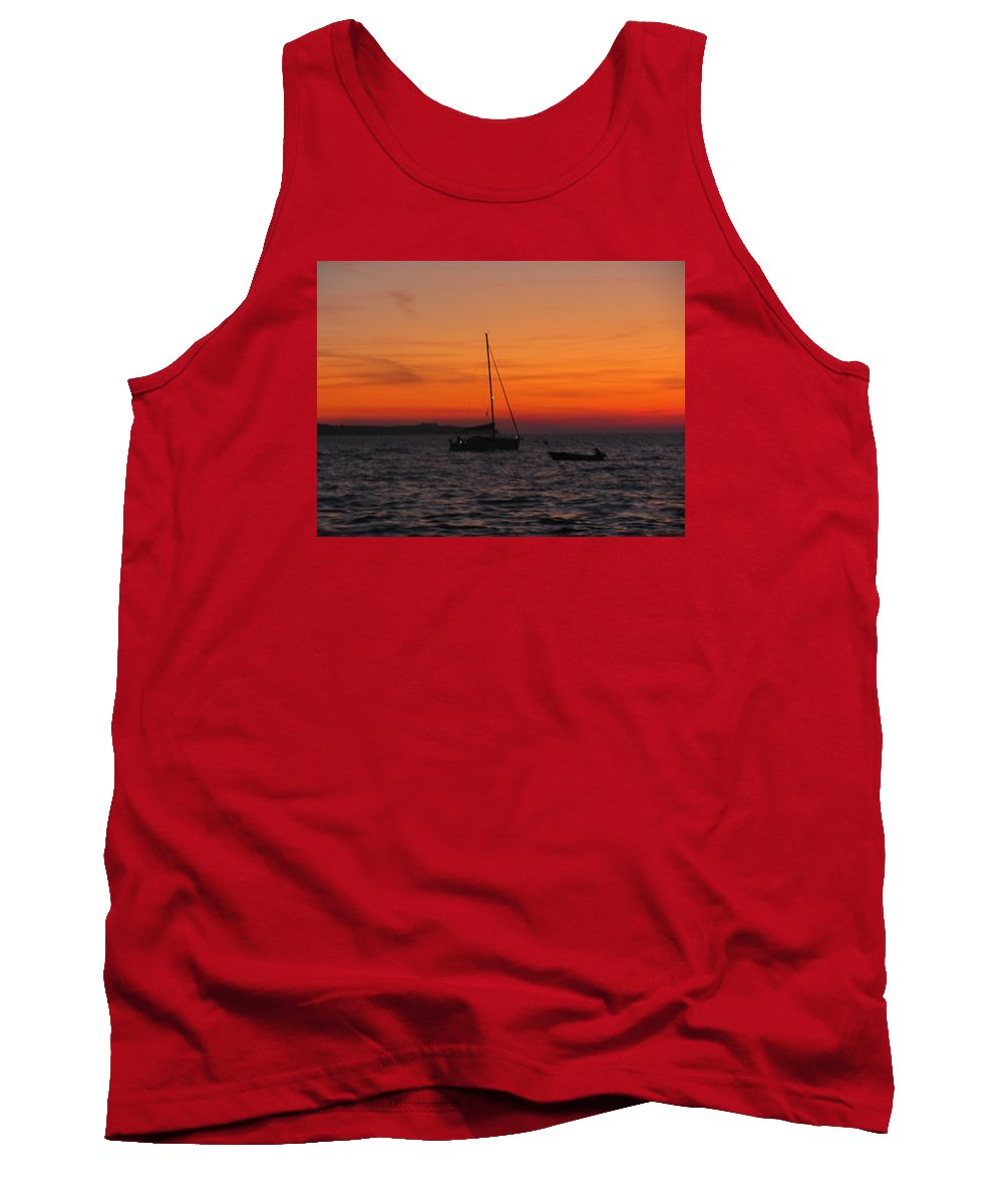 Interior Tank Top featuring the pyrography Sunset No1 by Miriam