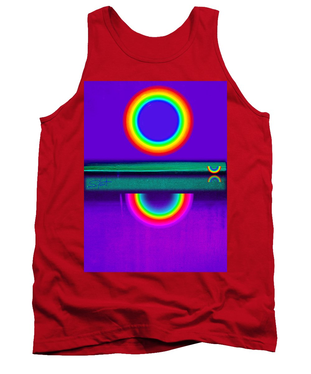 Reflections Tank Top featuring the painting Sunset On Violet by Charles Stuart