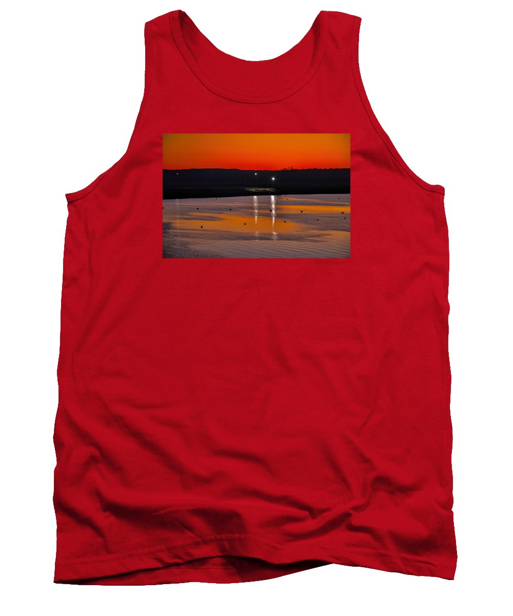 Landscapes Diana Mary Sharpton Photography Tank Top featuring the photograph Sunset Over The Denison Dam by Diana Mary Sharpton