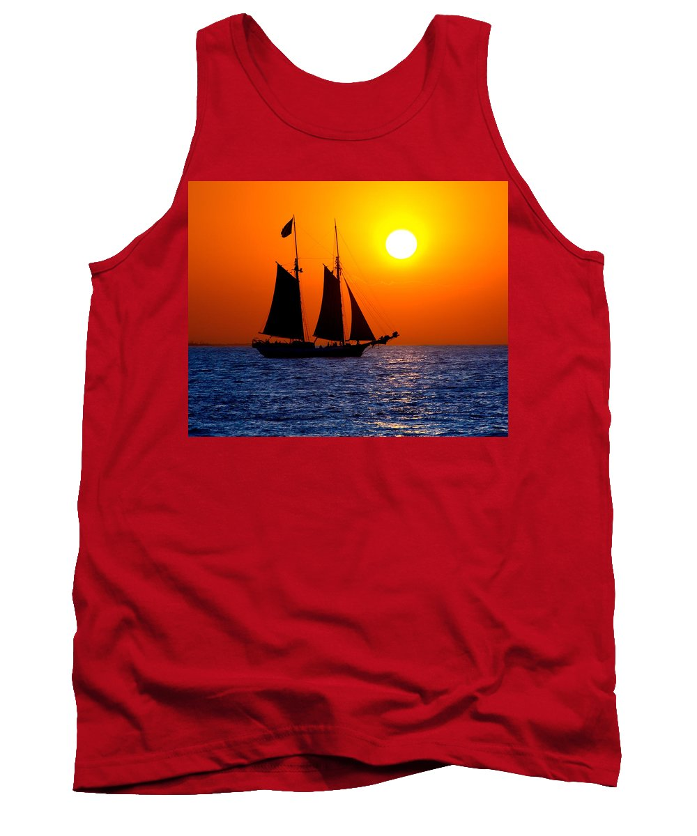 Yellow Tank Top featuring the photograph Sunset Sailing In Key West Florida by Michael Bessler