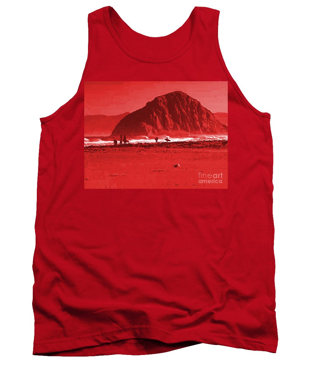 Surfers On Morro Rock Beach In Red Tank Top featuring the painting Surfers On Morro Rock Beach In Red by R Muirhead Art