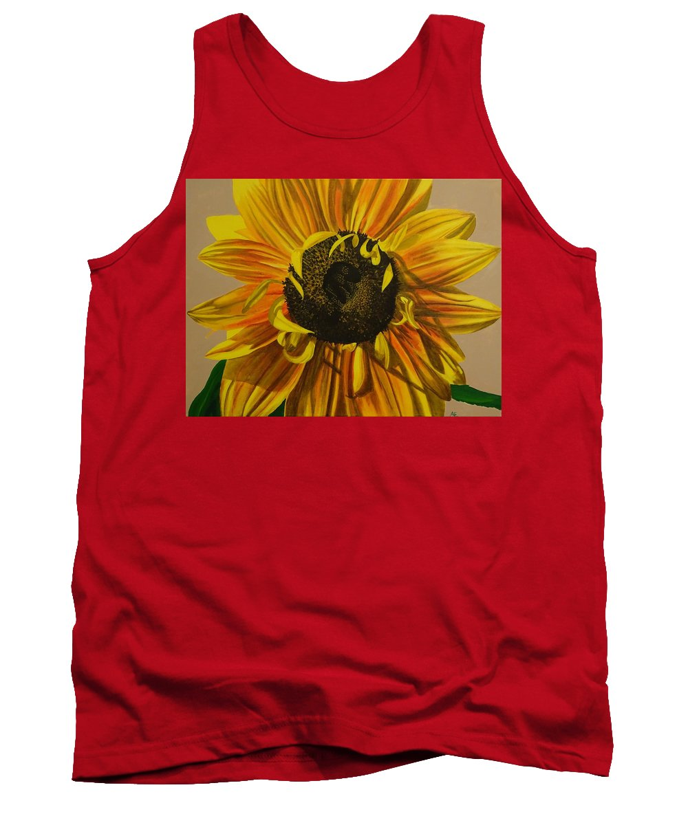 Sunflower Tank Top featuring the painting Susanna's Sunflower by Amelia Emery