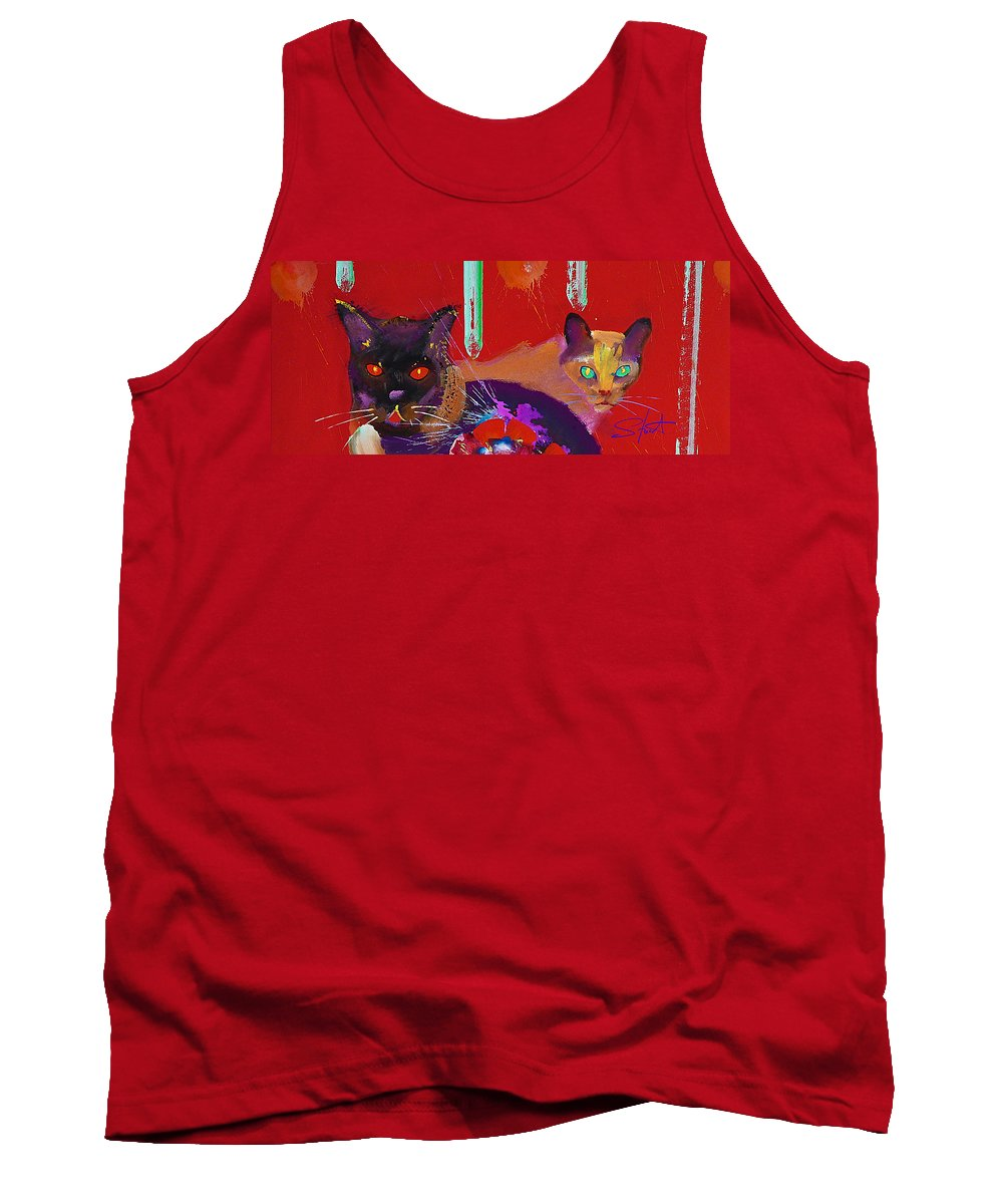 Cat Tank Top featuring the painting Suspicious Minds by Charles Stuart