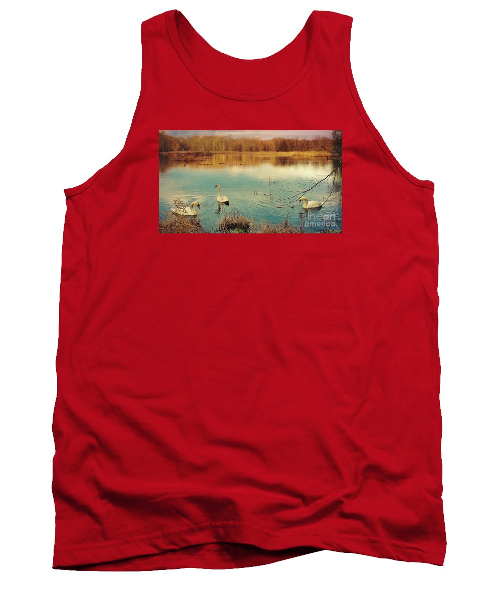 Swan Tank Top featuring the photograph Swan Lake by Beth Ferris Sale