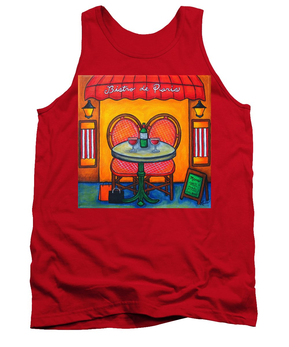 Paris Tank Top featuring the painting Table For Two In Paris by Lisa Lorenz