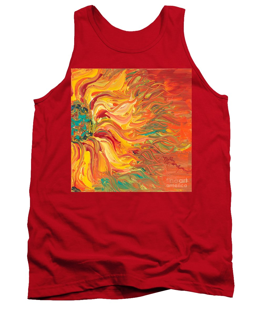 Sunjflower Tank Top featuring the painting Textured Fire Sunflower by Nadine Rippelmeyer