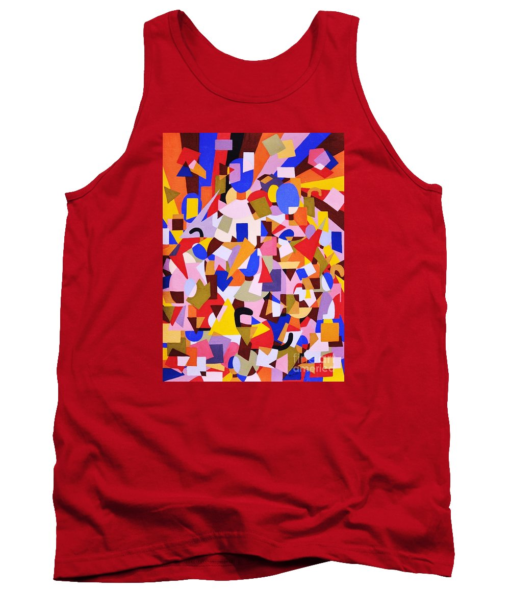 Abstract Tank Top featuring the painting The Art Of Misplacing Things by Reb Frost