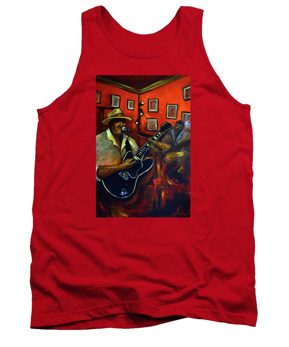 Blues Tank Top featuring the painting The Back Room by Valerie Vescovi