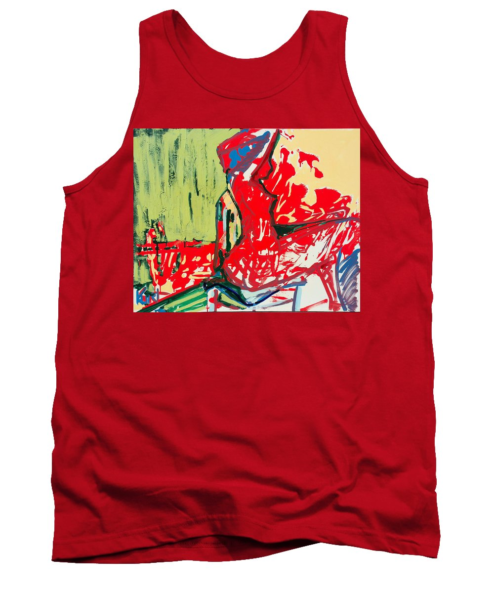 Woman Tank Top featuring the painting The Blue Chair by Kurt Hausmann