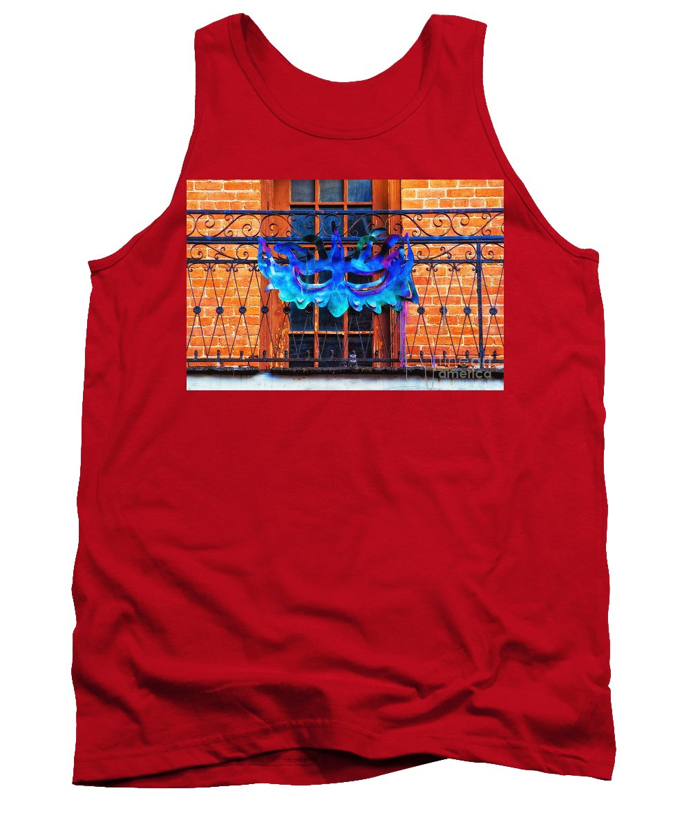 New Orleans Tank Top featuring the photograph The Blue Mask by Frances Ann Hattier