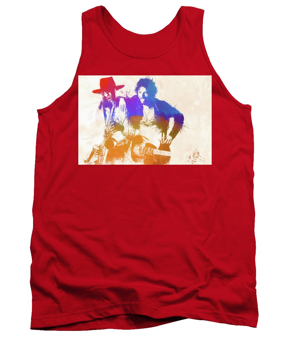 Bruce And The Big Man Tank Top featuring the painting The Boss And The Big Man by Dan Sproul