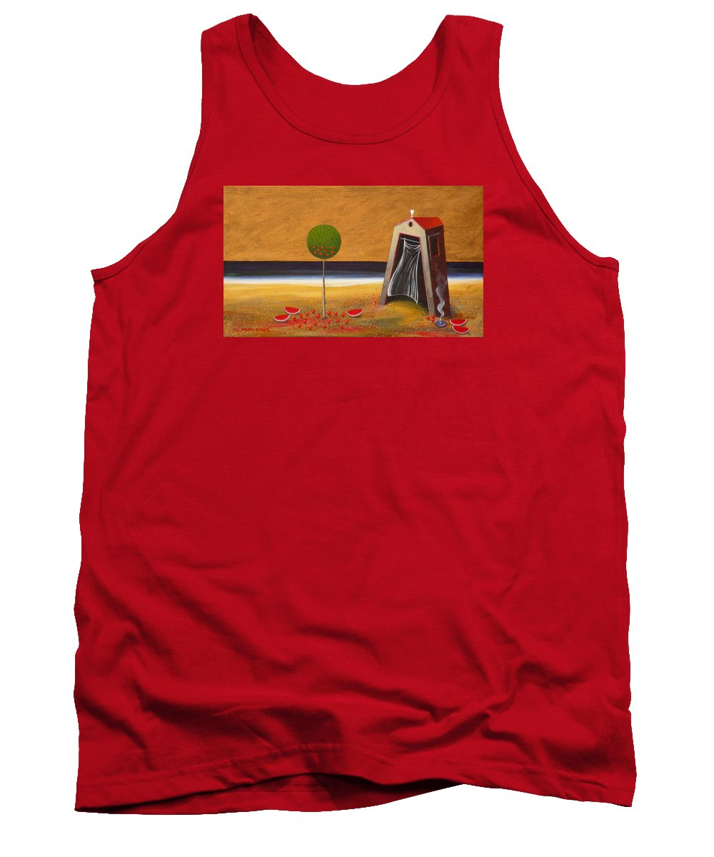 Astronomy Tank Top featuring the painting the Buff House by Dimitris Milionis