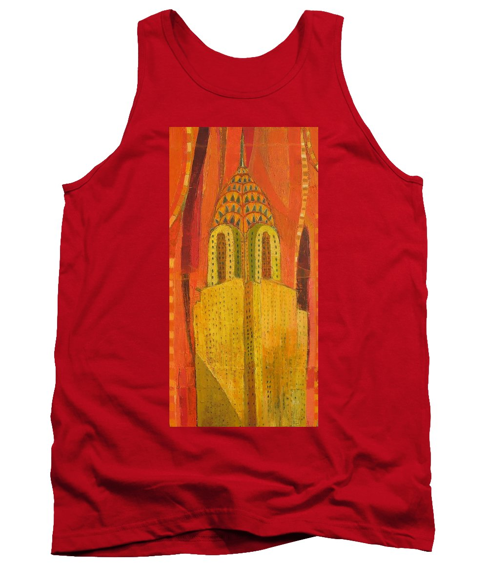 Abstract Cityscape Tank Top featuring the painting The Chrysler In Red by Habib Ayat