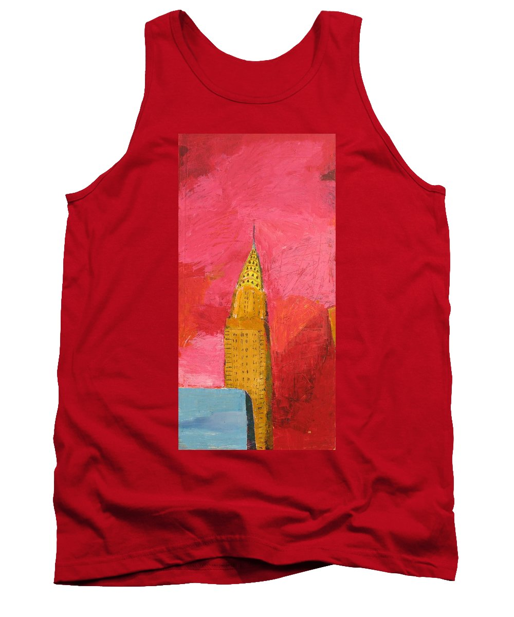 Nyc Tank Top featuring the painting The Chrysler With Red by Habib Ayat