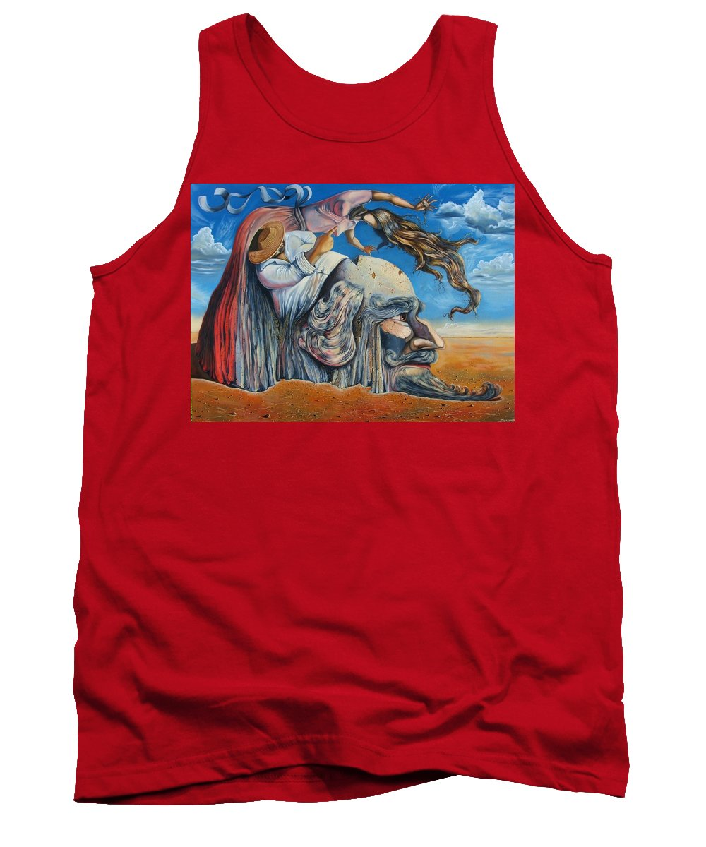 Surrealism Tank Top featuring the painting The Eternal Obsession Of Don Quijote by Darwin Leon