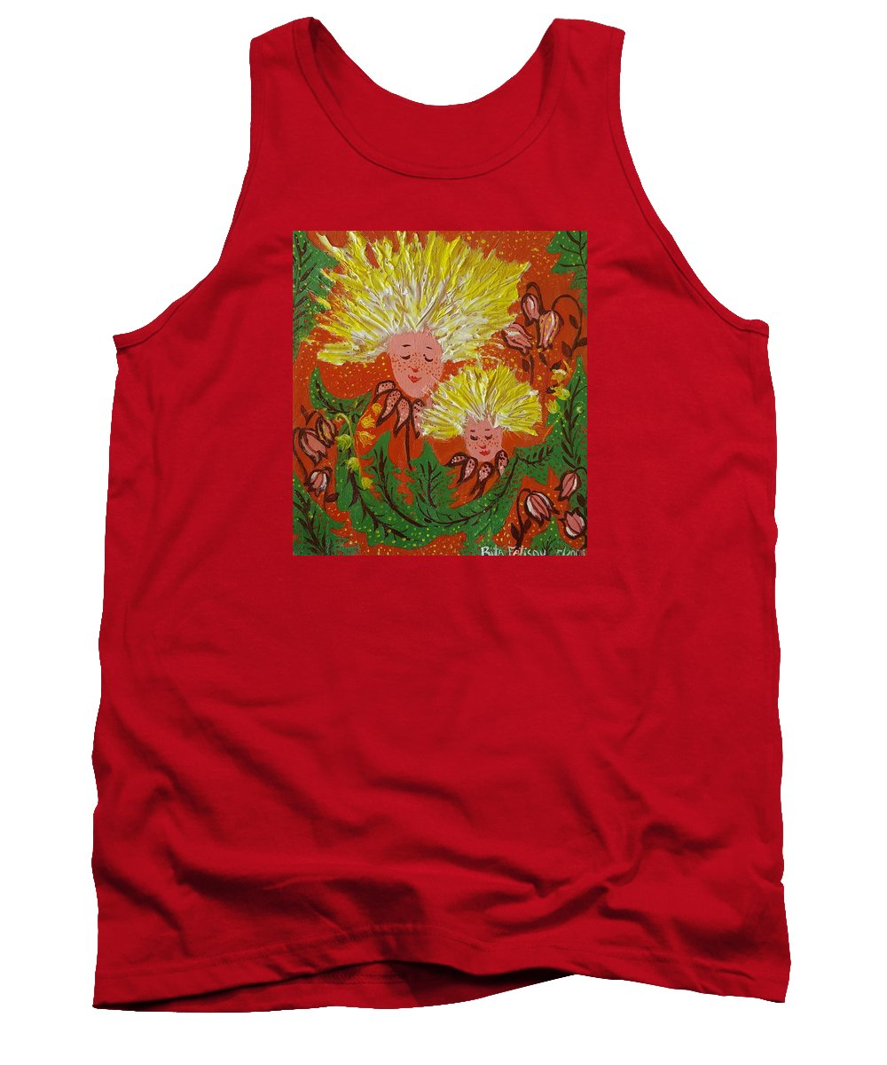 Dandelion Tank Top featuring the painting Family by Rita Fetisov