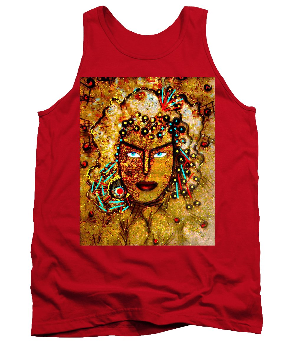 Goddess Tank Top featuring the painting The Golden Goddess by Natalie Holland