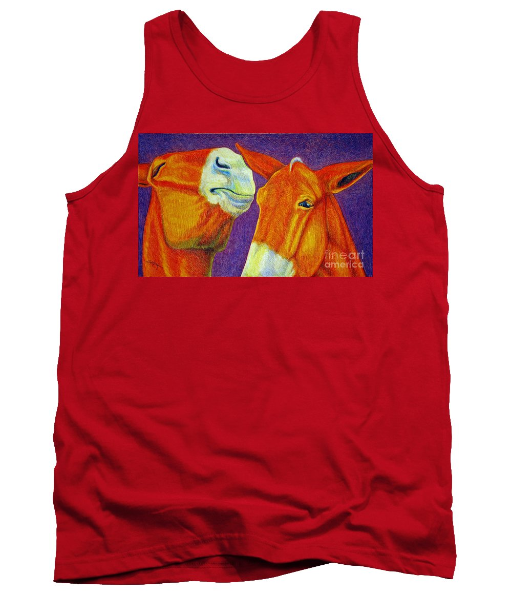 Color Pencil Tank Top featuring the drawing The Gossip by Suzanne McKee