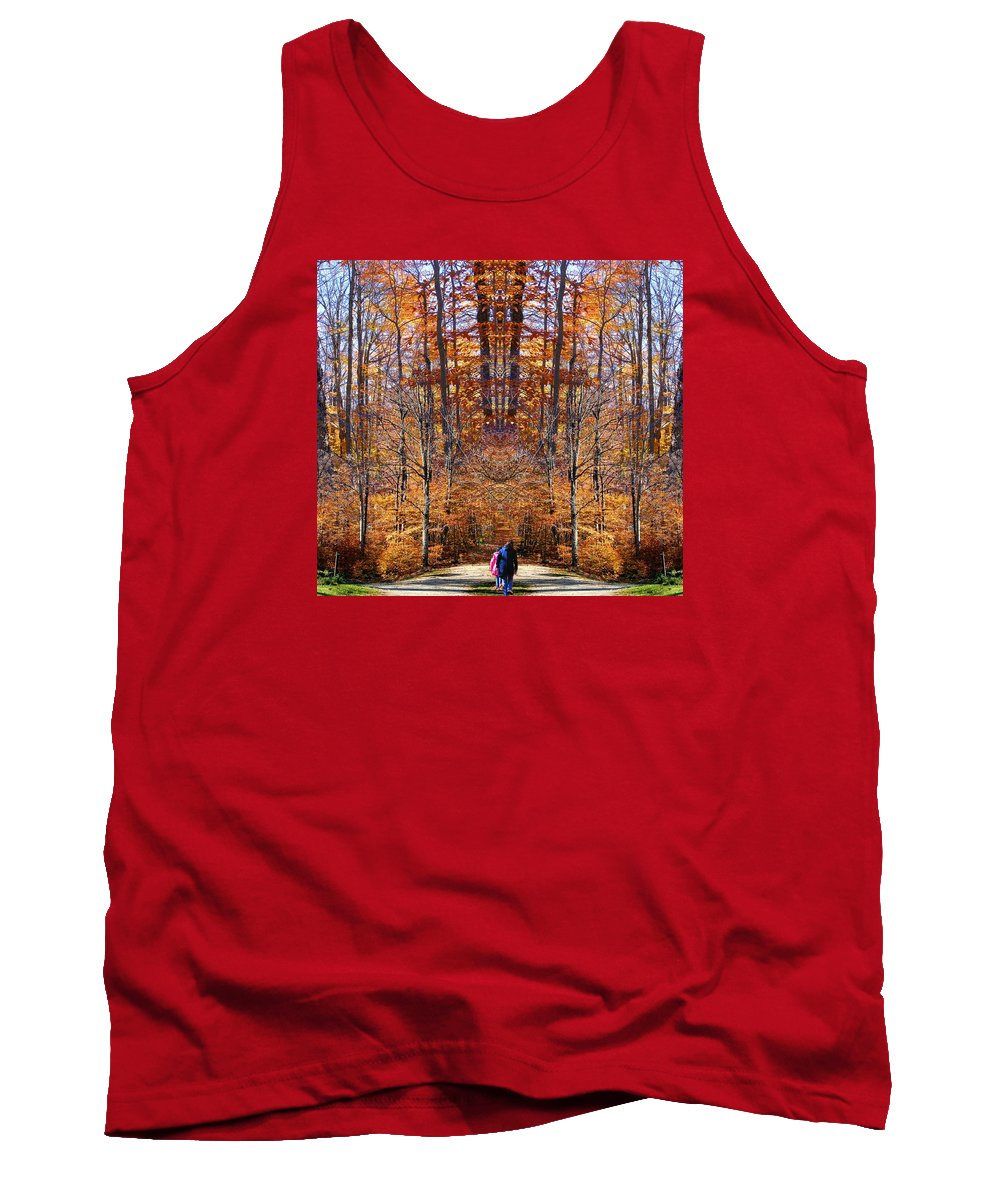 Fall Autumn Trees Foliage Leaves Photography Woods Forest October Tank Top featuring the photograph The Hidden Path Revealed by Dave Martsolf