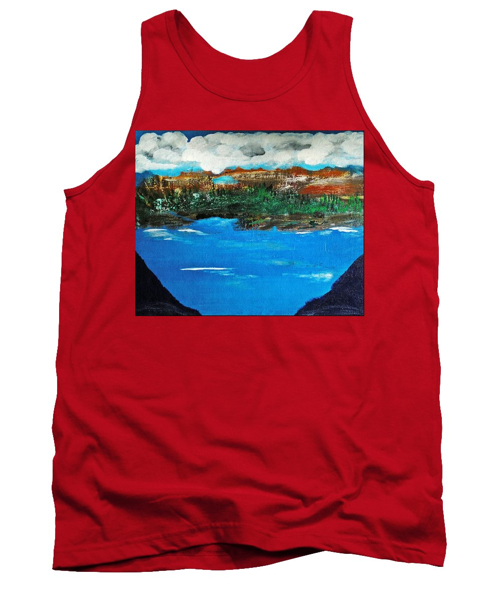 Abstract Tank Top featuring the painting The Lake by Scott Haley