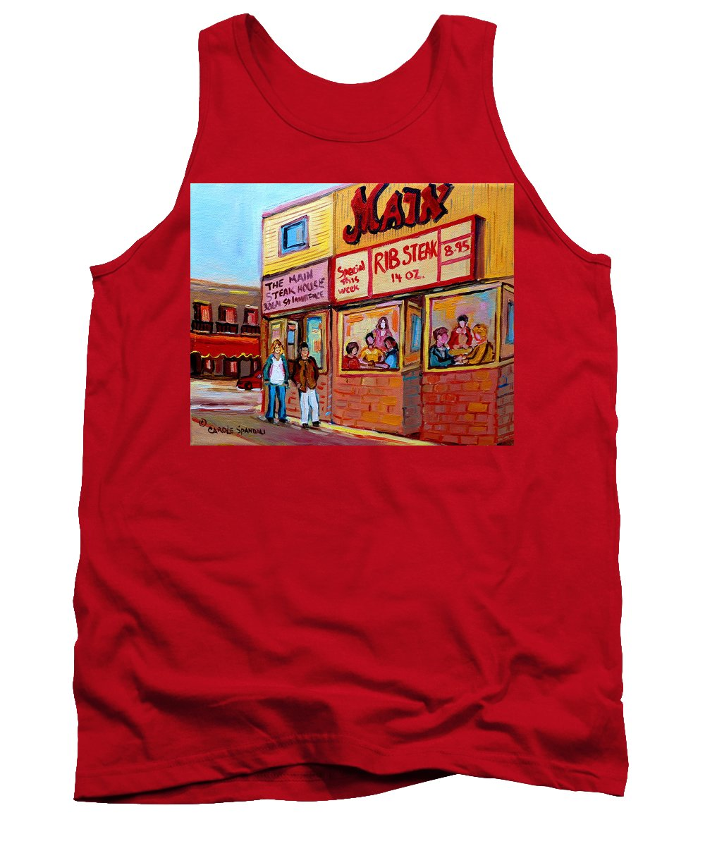 The Main Steakhouse Tank Top featuring the painting The Main Steakhouse On St. Lawrence by Carole Spandau