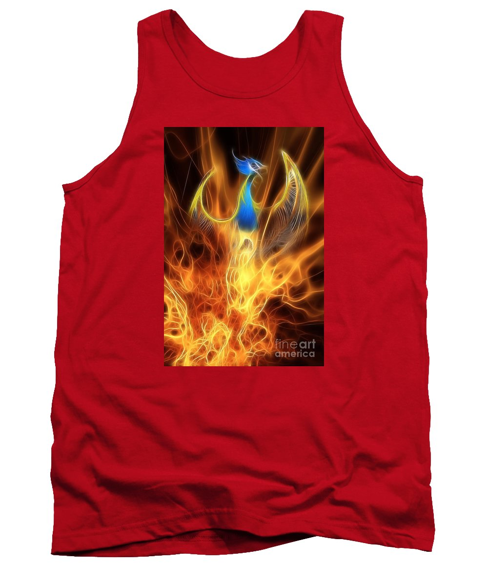 Mythology Tank Top featuring the digital art The Phoenix Rises From The Ashes by John Edwards