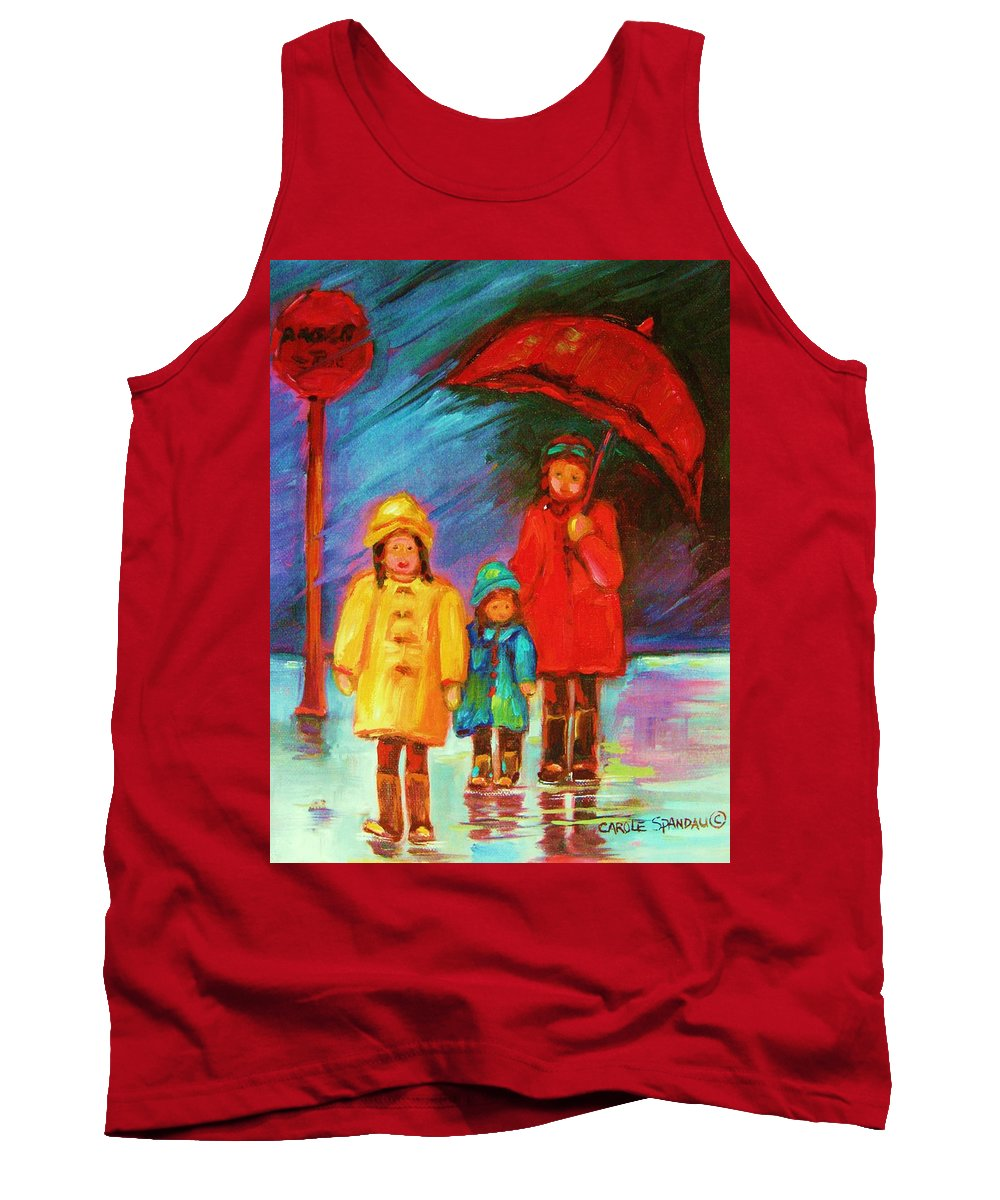 Rainy Day Tank Top featuring the painting The Red Umbrella by Carole Spandau