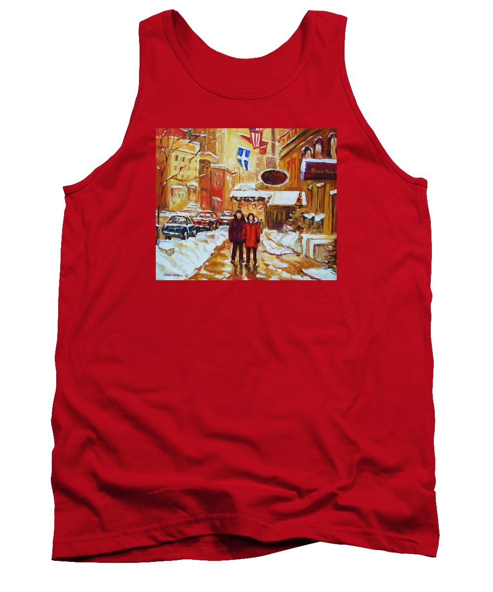 Streetscene Tank Top featuring the painting The Ritz Carlton by Carole Spandau